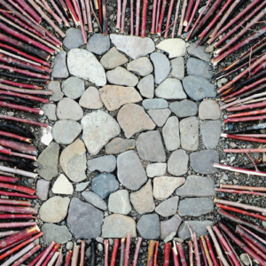 Nest (detail), sticks and stone, 2011