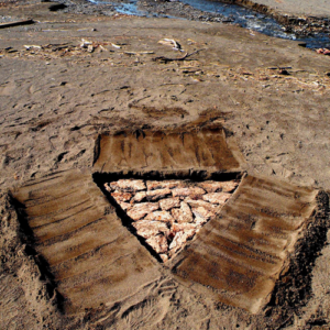 triangular, ponderosa pine bank and sand, 2012